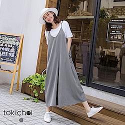 東京著衣 可愛直條紋細肩吊帶連身寬褲-S.M.L(共兩色)
