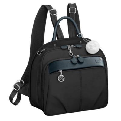 Kanana卡娜娜 多功能尼龍小型手提後背兩用包-黑色