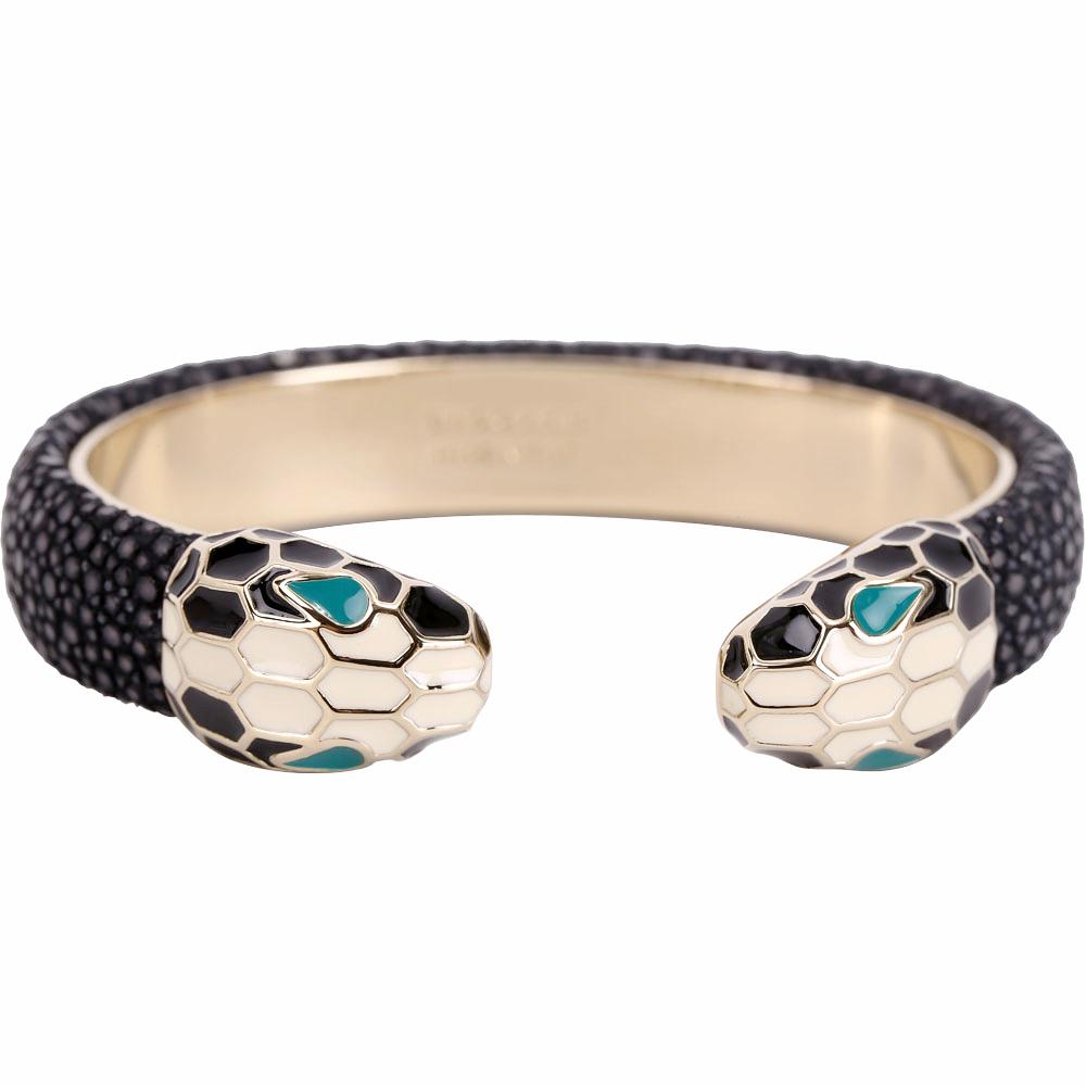 BVLGARI 寶格麗 Serpenti Forever 雙蛇頭黑色珍珠魚皮金屬手環