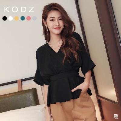 東京著衣-KODZ 甜美休閒大V領縮腰後綁帶多色上衣(共六色)