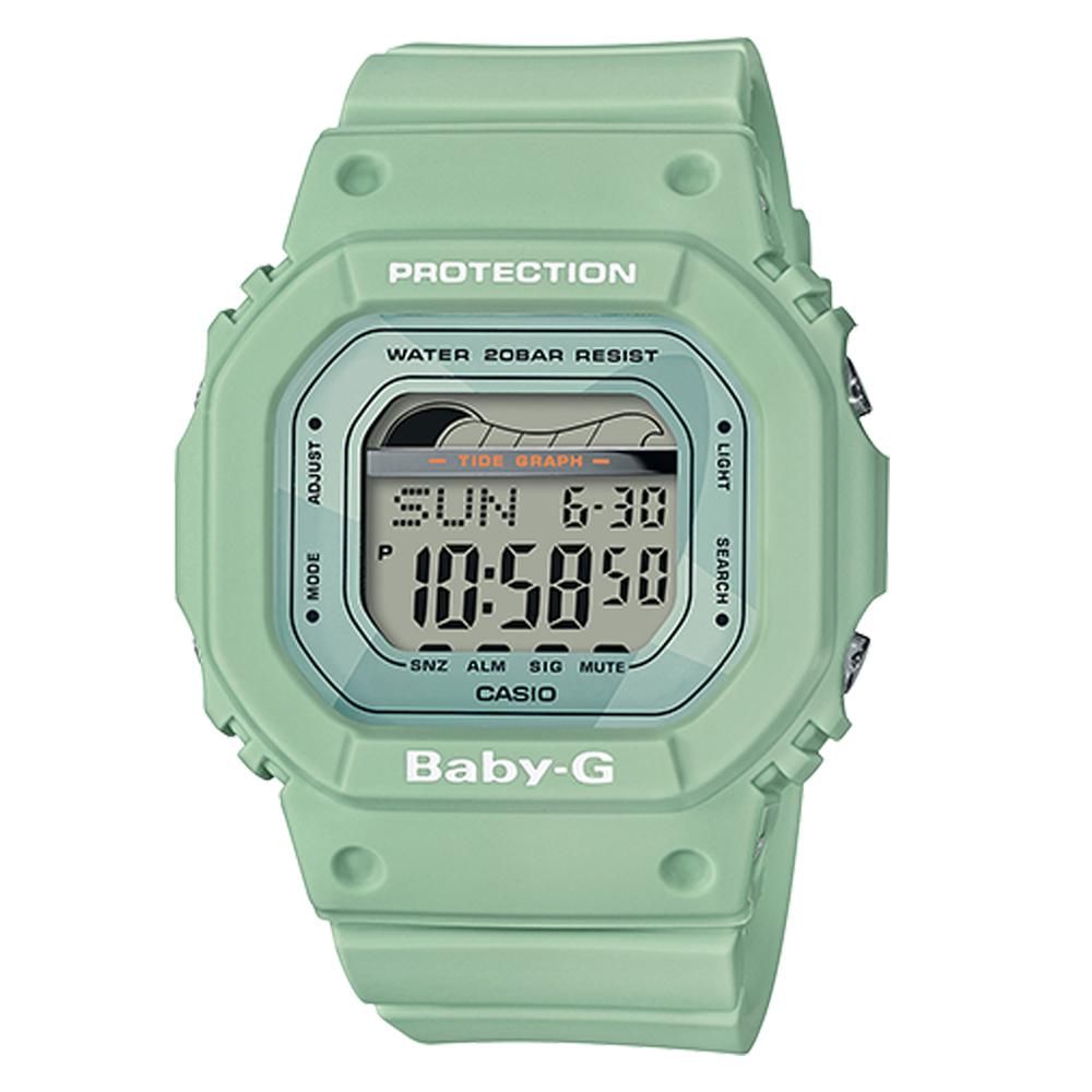 BABY-G復刻經典衝浪板海灘活動設計潮汐月相休閒錶(BLX-560-3)綠色40mm @ Y!購物