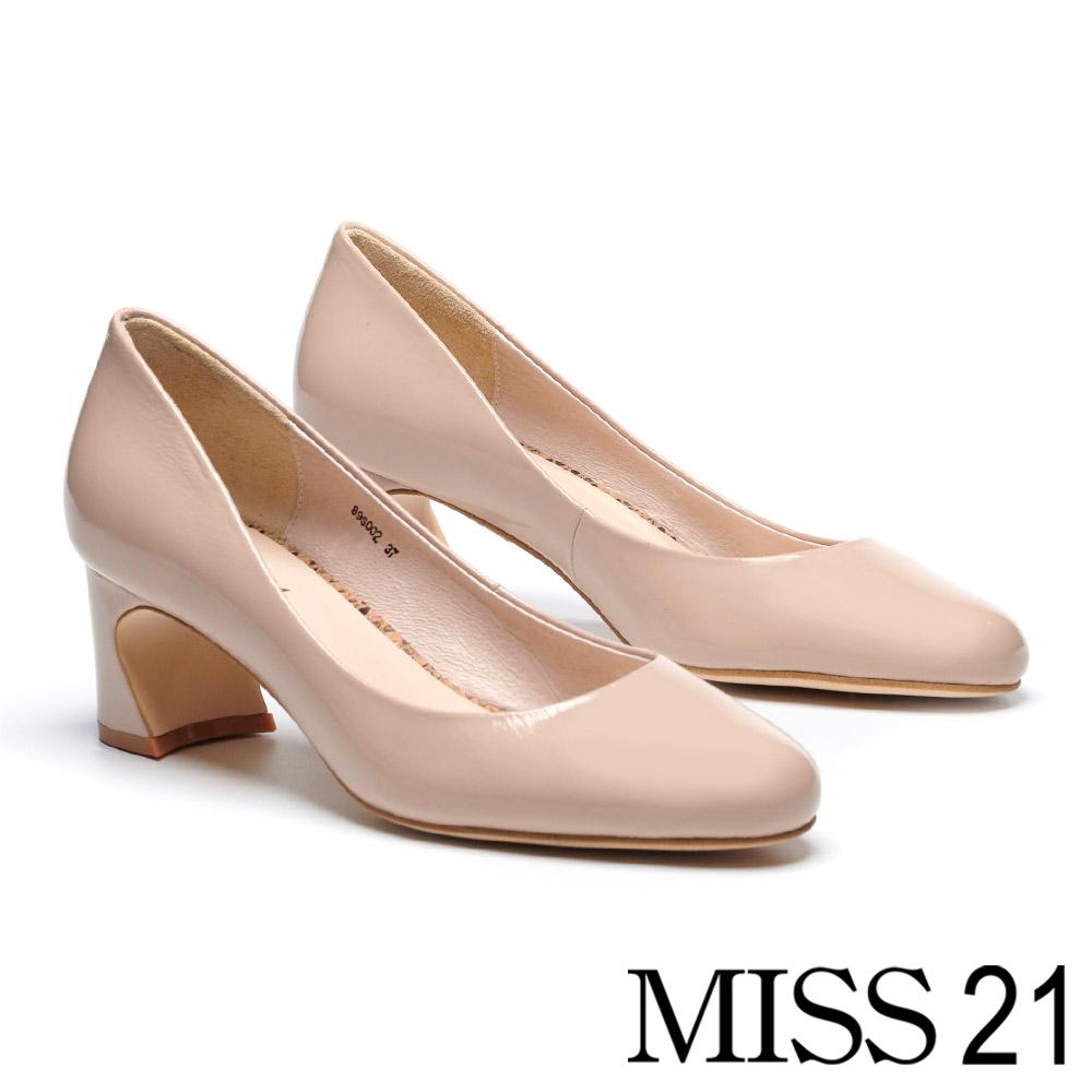 高跟鞋 MISS 21 極簡主義純色百搭皺漆皮馬蹄高跟鞋-米