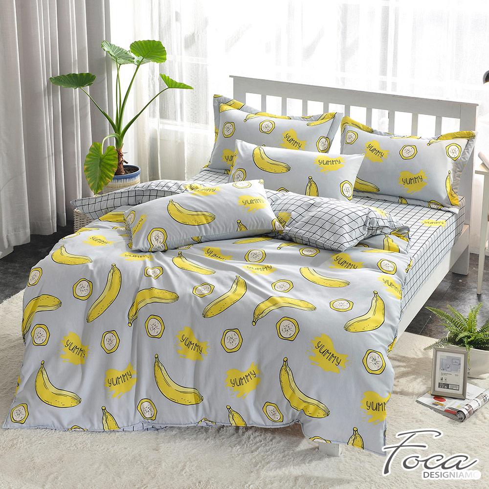 FOCA 香蕉牛奶  單人-北歐風活性印染100%雪絨棉三件式薄被套床包組