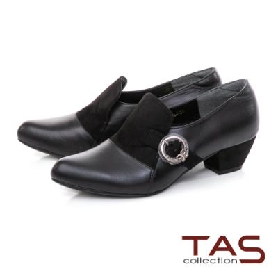 TAS小圈環飾釦拼接羊皮樂福粗跟鞋-百搭黑