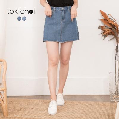 東京著衣 學院女孩不收邊側開衩A字牛仔短裙-S.M.L(共二色)