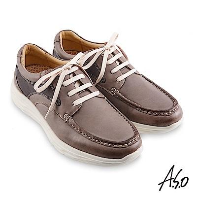 A.S.O機能休閒 超能耐II代異材拼色綁帶休閒鞋-灰褐