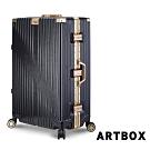 【ARTBOX】時空魅影 29吋獨家飾紋海關鎖鋁框行李箱(黑X金)