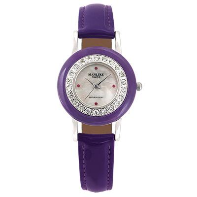Manlike 曼莉萊克 玉石天然紅寶石珠寶錶 紫帝