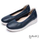 DIANA 漫步雲端超厚切焦糖美人款—透氣滾邊真皮厚底輕量休閒鞋-深藍