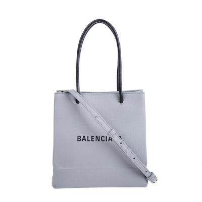 Balenciaga 新款Shopping Phone Holder XXS 灰底黑字Logo手提/肩背包