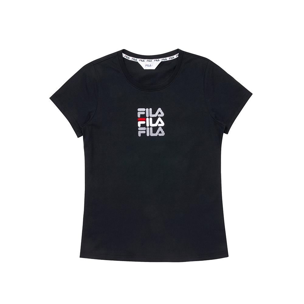 FILA 女圓領T恤-黑色 5TEU-1515-BK