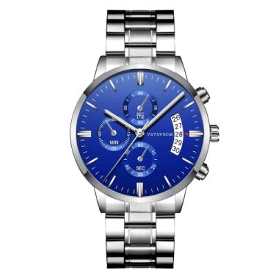 HANNAH MARTIN 征服者裝飾三眼鋼帶男錶-藍/43mm