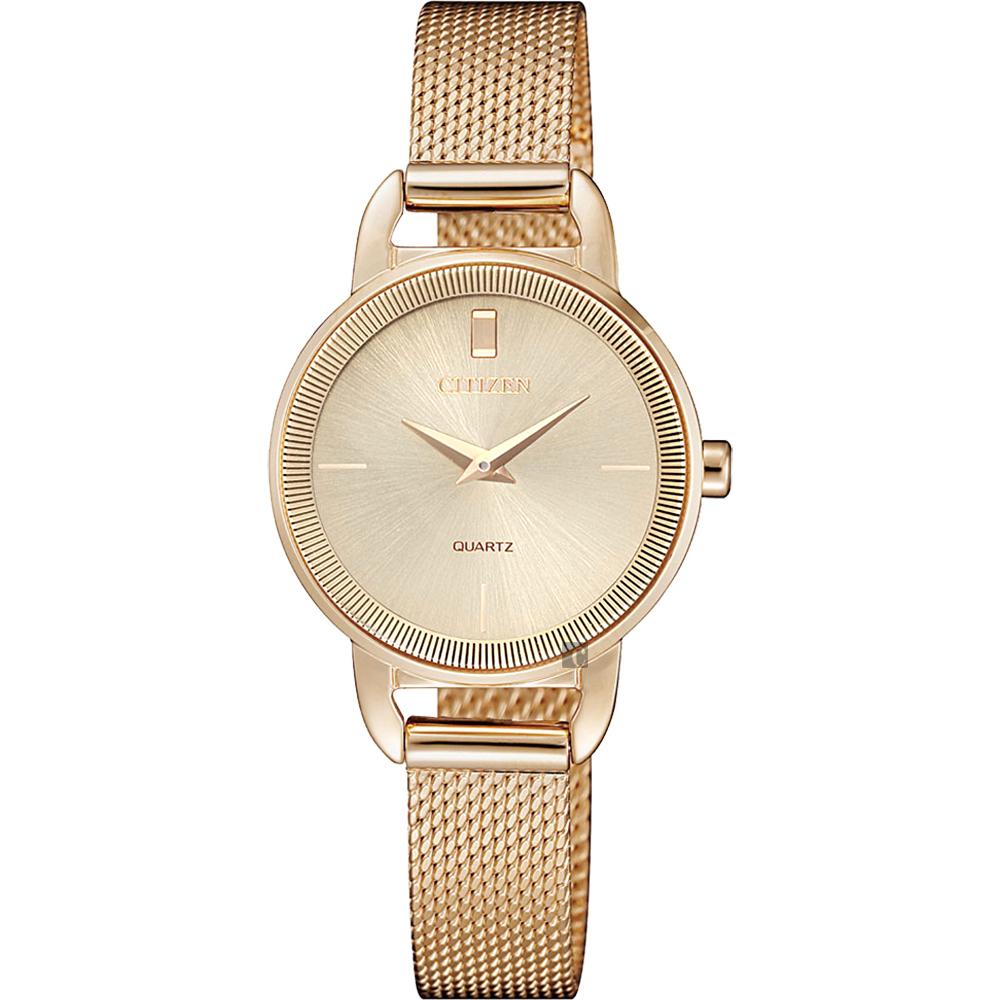 CITIZEN 星辰 Lady 優雅米蘭帶女錶-玫塊金x26mm