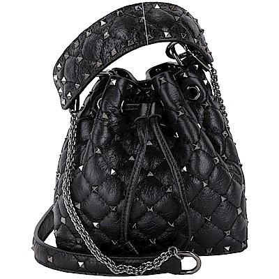 VALENTINO Rockstud Spike 黑色裂紋小羊皮衍縫鉚釘兩用水桶包