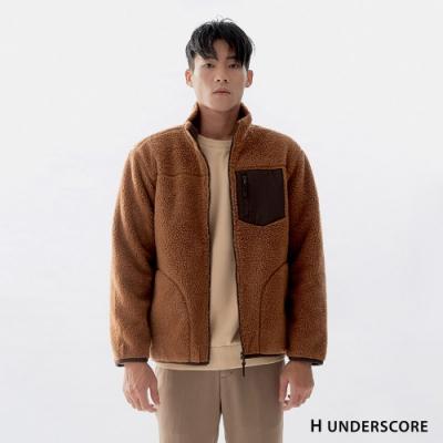 H UNDERSCORE 全新潮牌 男女裝 - 中性款車線剪裁厚款羊羔毛外套 -棕色