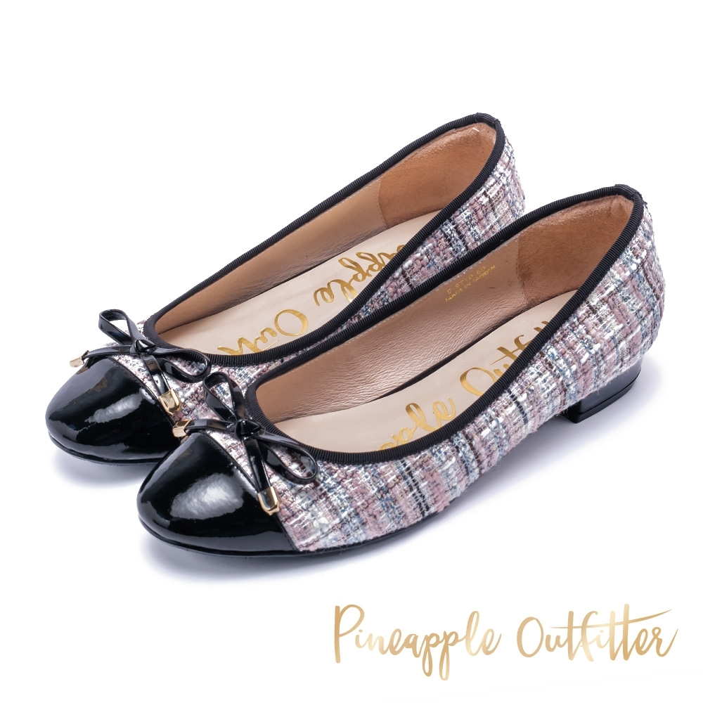 Pineapple Outfitter 時尚精品 格紋毛呢平底鞋-粉紅色