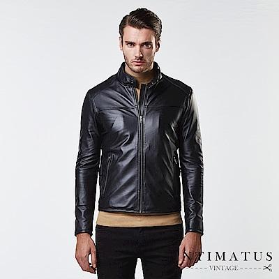INTIMATUS 真皮 金仕曼紳士血統收縮式設計小羊皮皮衣 經典黑