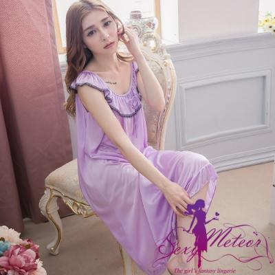 睡衣 全尺碼 冰絲蕾絲滾邊蝴蝶結短袖連身裙睡衣(輕甜淺紫) Sexy Meteor
