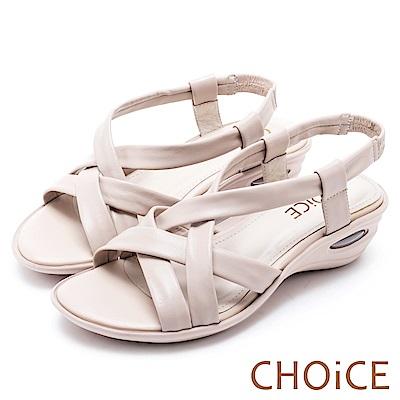 CHOiCE 簡約舒適休閒 交叉編織牛皮氣墊涼鞋-米色