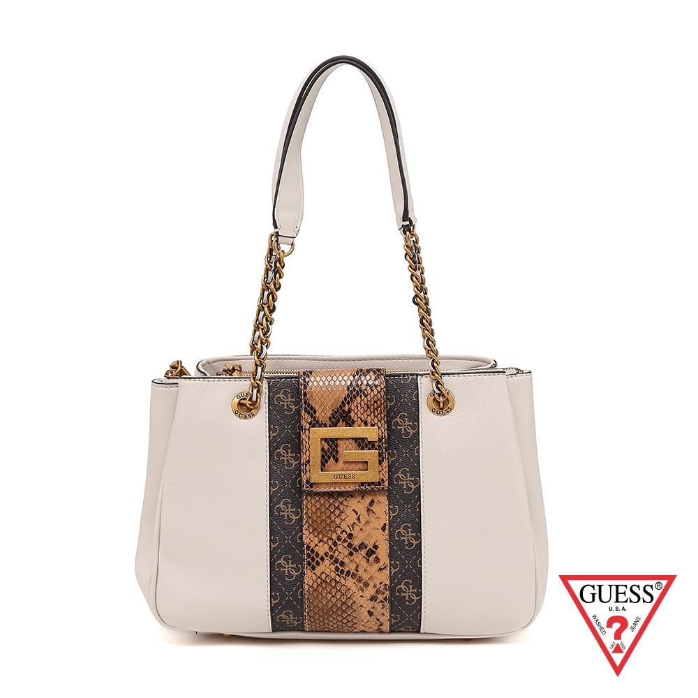 GUESS-女包-復古蛇紋拼接肩背包-杏 原價4090
