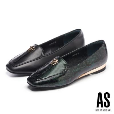 低跟鞋 AS 金屬風時尚率性全真皮樂福低跟鞋-綠
