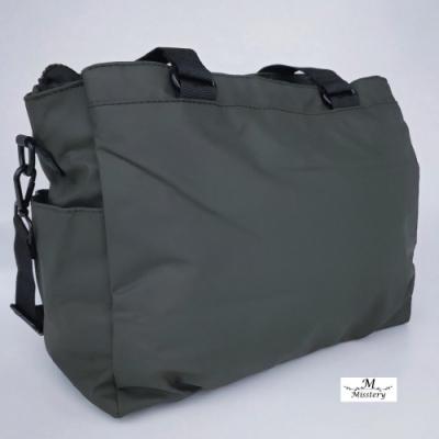 【Misstery】側背包熱壓PU面料休閒側背包-大-綠