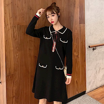 DABI 韓系復古氣質顯瘦百搭針織線條長袖洋裝