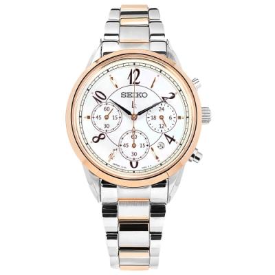 SEIKO 精工 LUKIA 太陽能 珍珠母貝 鑽石 不鏽鋼手錶-銀白x鍍玫瑰金/36mm