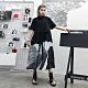 個性黑白色系抽繩襯衫寬鬆洋裝-F-CLORI product thumbnail 1