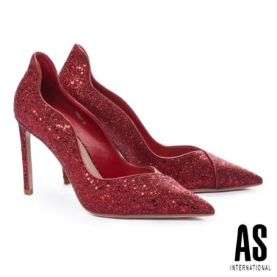 高跟鞋 AS 極致奢華閃耀金蔥尖頭美型高跟鞋-紅