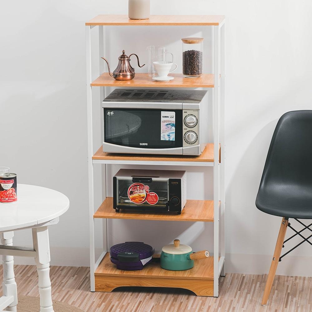 樂嫚妮 廚房多用途收納置物微波爐架-古橡木色
