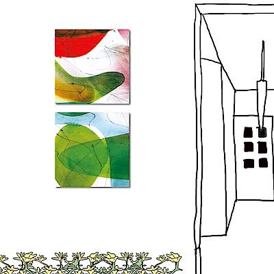 橙品油畫布 兩聯式方形 抽象無框畫-紅配綠30x30cm