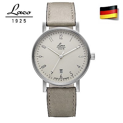 Laco 朗坤 862064德國工藝包豪斯系列纖薄白色真皮情侶錶男款 自動機械機錶40mm