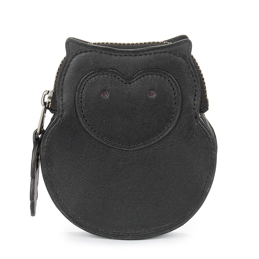 COACH 貓頭鷹造型皮革零錢/鑰匙包-黑色