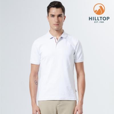 【hilltop山頂鳥】男款Polygiene抗菌吸濕快乾LOGOPOLO衫S14MI5白