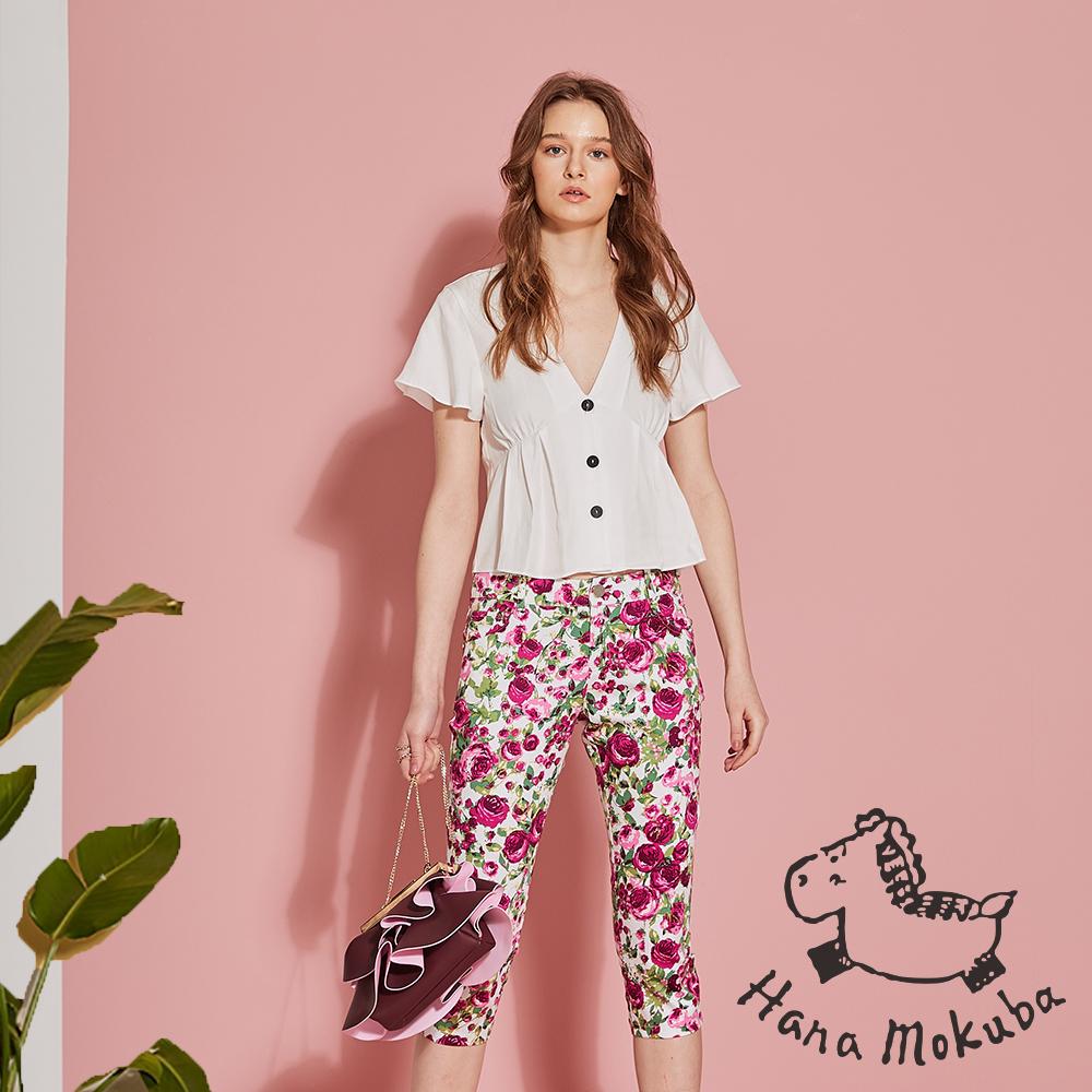 Hana+花木馬 微甜浪漫玫瑰印花造型七分褲-戀愛粉