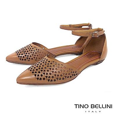Tino Bellini 巴西進口雷射幾何藝術繫踝平底鞋 _淺棕