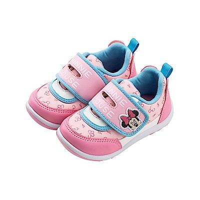 迪士尼童鞋 90周年限定款 米妮 滿版魔鬼氈運動鞋-粉