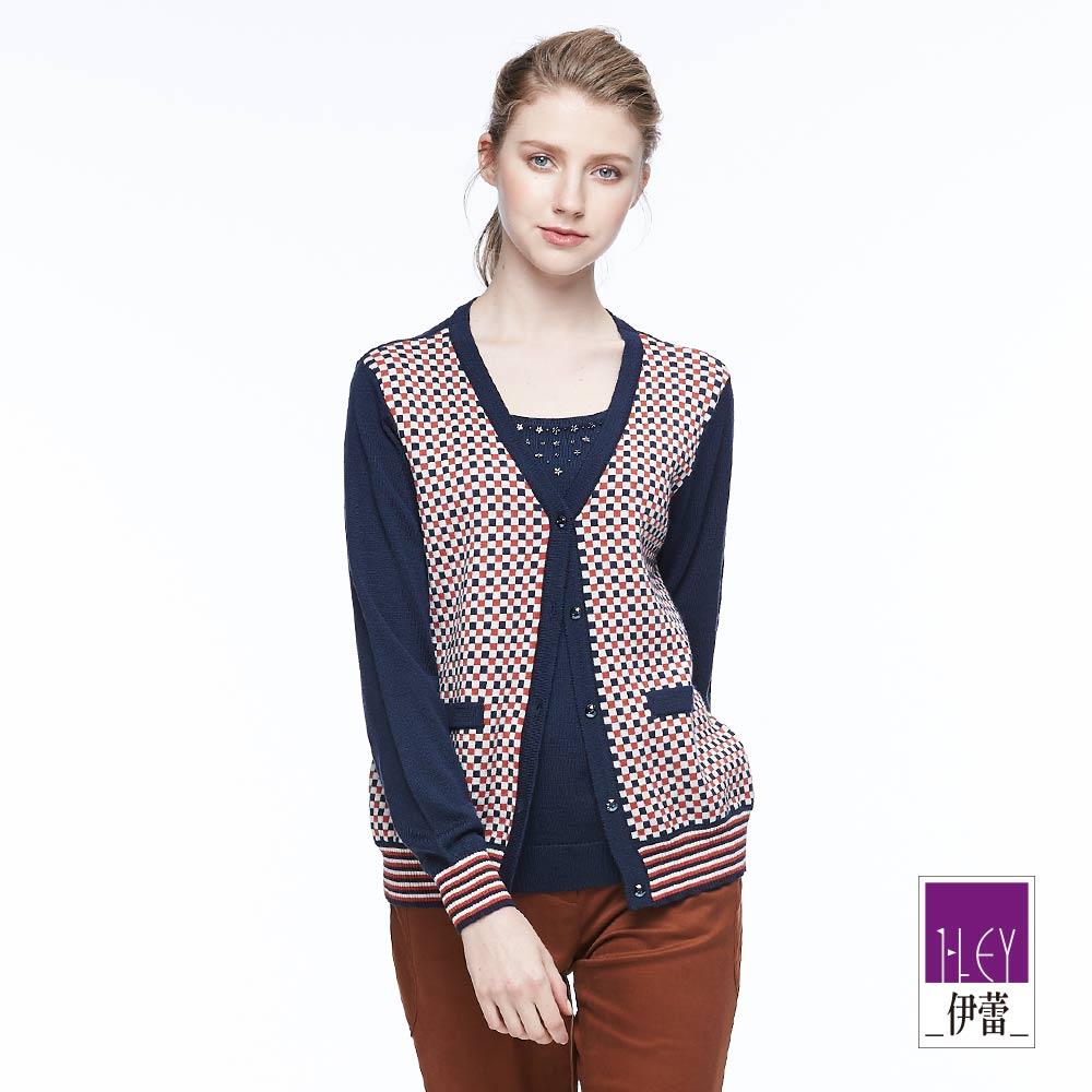 ILEY伊蕾 率性格紋假兩件針織上衣(藍)