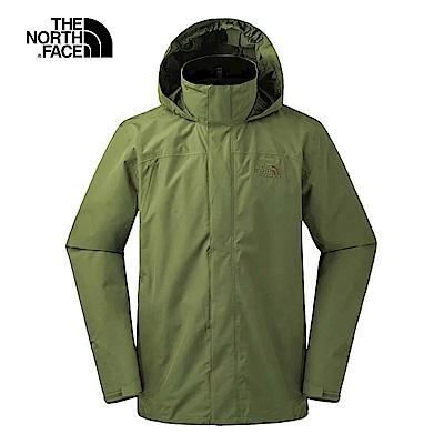 The North Face北面男款軍綠色防水透氣衝鋒衣|3L8QZBK