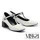 高跟鞋 MISS 21 復古時髦水鑽T字帶瑪麗珍高跟鞋-白 product thumbnail 1