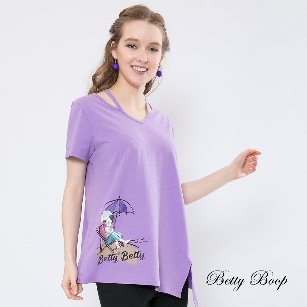 Betty Boop貝蒂 挖空細帶領造型柔棉上衣(紫色)
