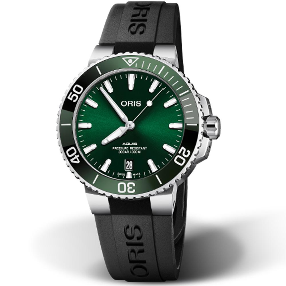 Oris豪利時Aquis Relief防水300M潛水機械錶-39.5mm(橡膠/綠)