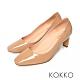 KOKKO極簡素面方頭舒壓真皮扁跟鞋奶茶色 product thumbnail 1