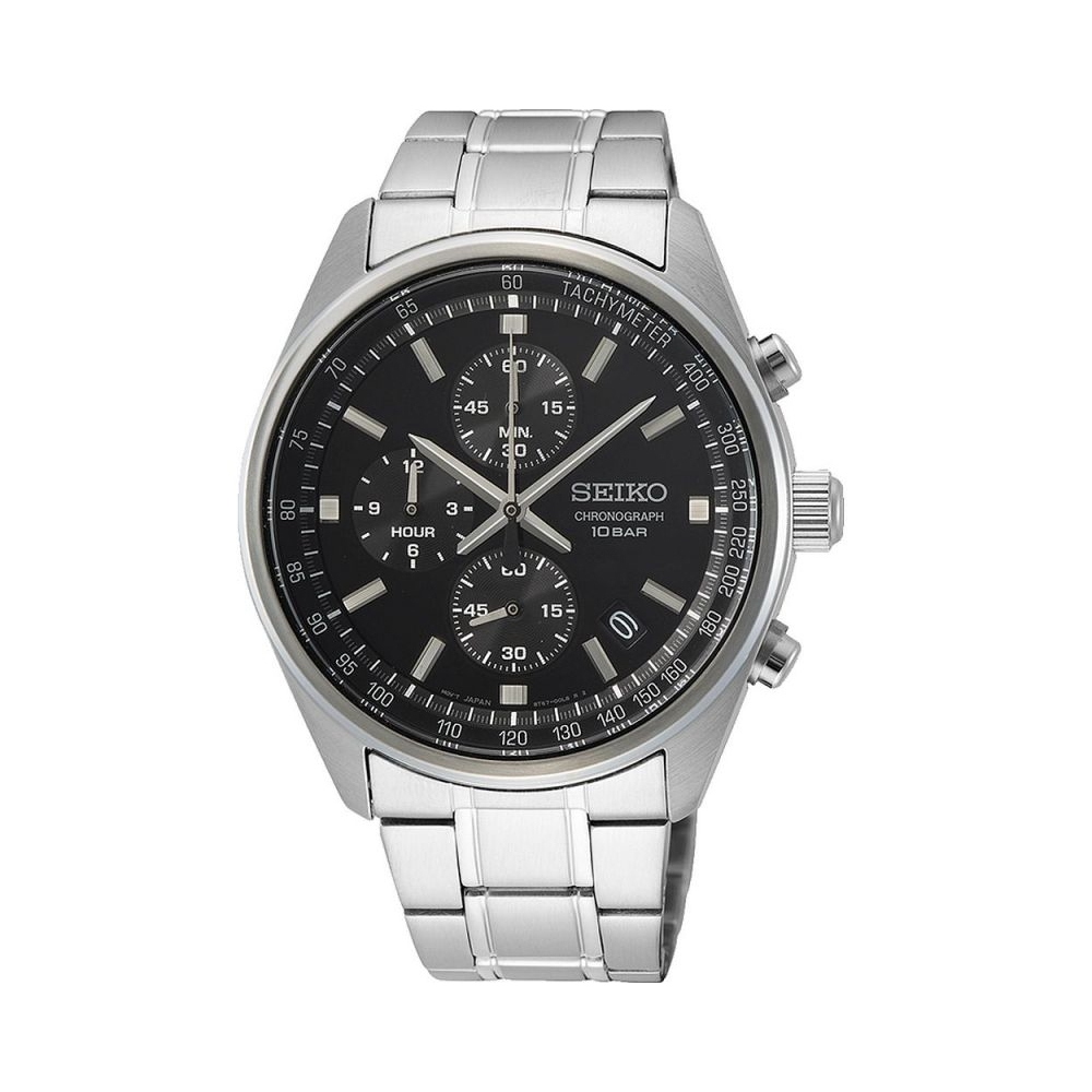 SEIKO 精工男士計時不銹鋼手錶-SSB379P1