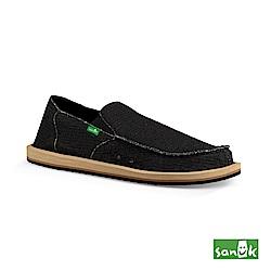 SANUK 竹節紋帆布懶人鞋-男款(黑色)