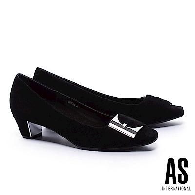 低跟鞋 AS 內斂尊貴銀飾釦羊麂皮方頭低跟鞋-黑 @ Y!購物