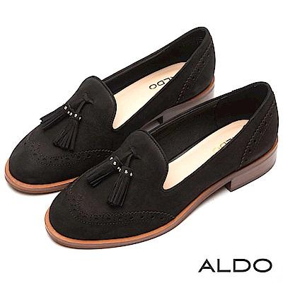 ALDO 原色真皮鞋面綴異國流蘇木紋粗跟樂福鞋~尊爵黑色