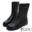 GDC-真皮時尚簡約側扣飾舒適厚底中筒靴-黑色