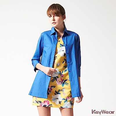 KeyWear奇威名品    100%純棉柔美版型八分袖襯衫-藍色